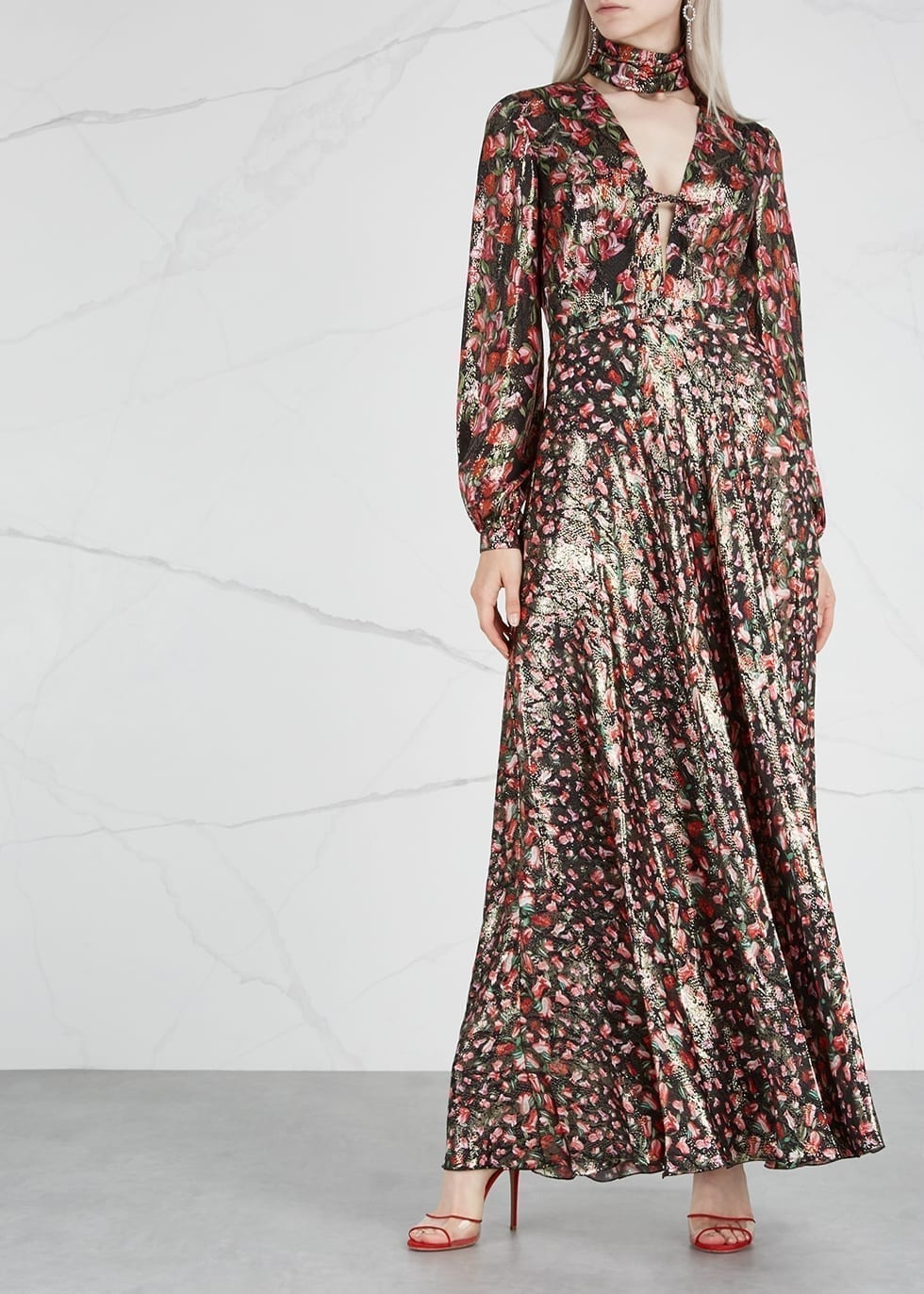 RAQUEL DINIZ Geena Printed Silk Lamé Maxi Multi Dress