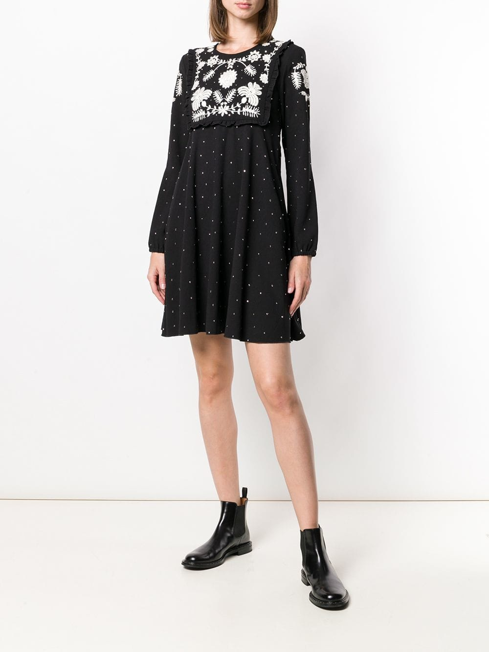 RED VALENTINO Embroidered Knit Black Dress