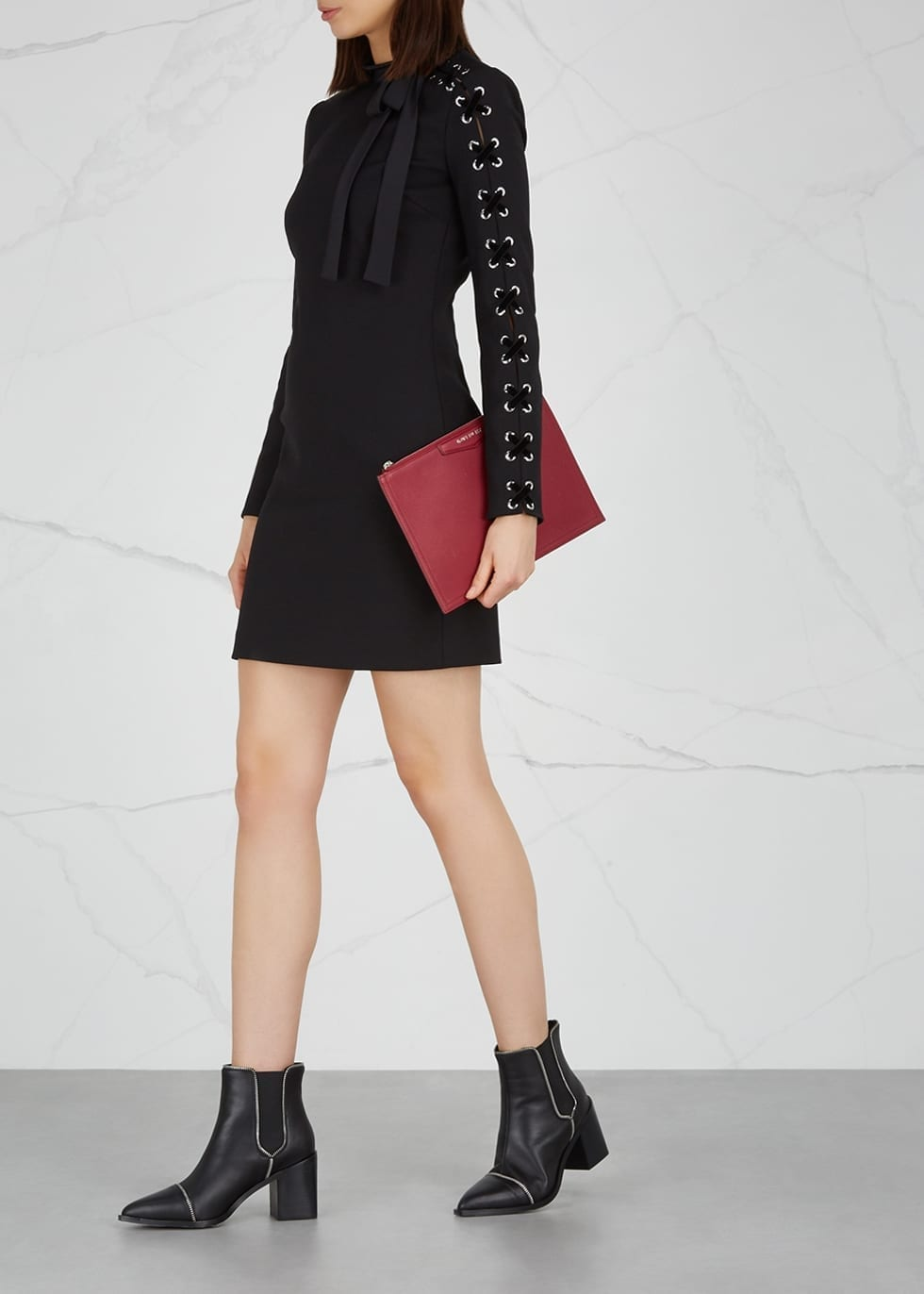 RED VALENTINO Lace-up Black Dress