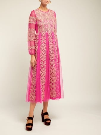 REDVALENTINO Cross Stitched Tulle Midi Pink Dress