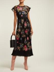 REDVALENTINO Floral Embroidered Georgette Black Dress
