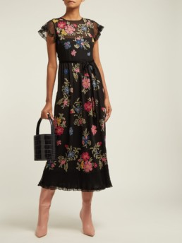 REDVALENTINO Floral Embroidered Georgette Black Dress