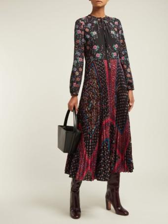 REDVALENTINO Maxi Black / Floral Printed Dress