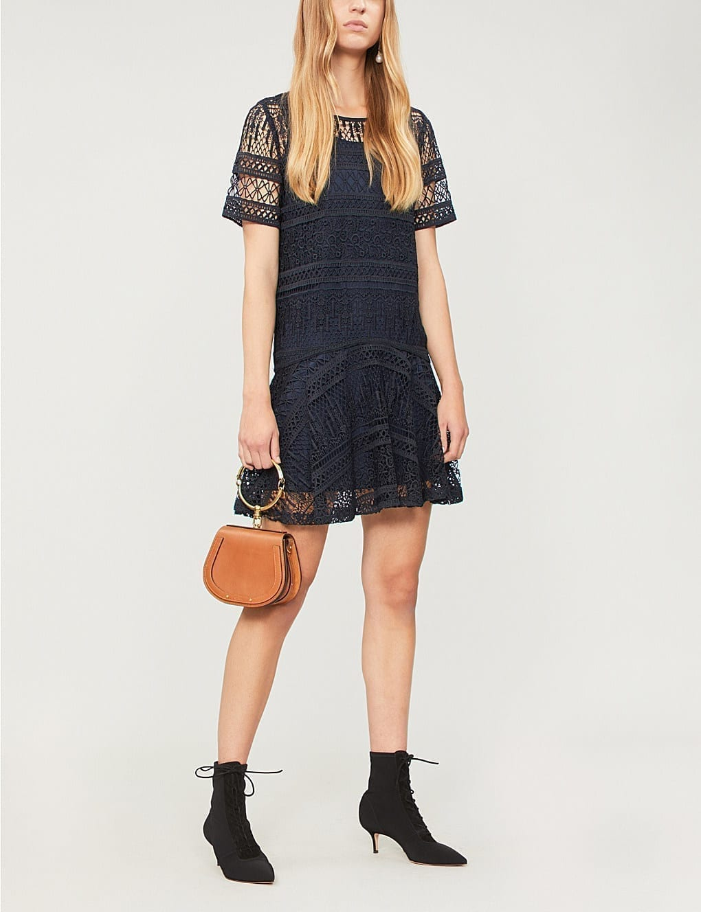 37bc6a5fb0b5 REISS Linda Embroidered Lace Shift Navy Dress - We Select Dresses