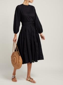 RHODE RESORT Devi Tasselled belt Cotton Black Dress