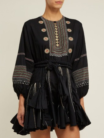 RHODE RESORT Ella Tribal Embroidered Chiffon Crepe Black Dress