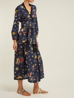 RHODE RESORT Lena Cotton Wrap Navy Dress