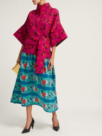 RIANNA + NINA Helena Neoprene And Silk Pink / Blue Dress