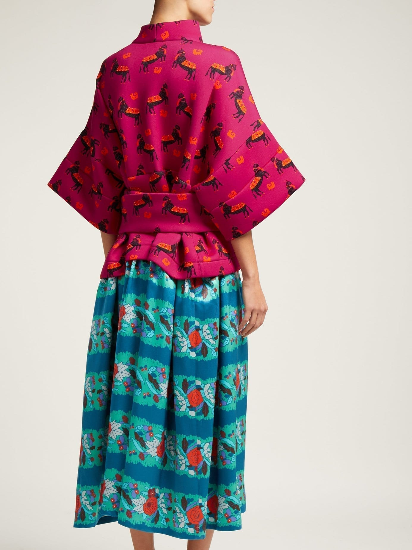 f835ac20a481 RIANNA + NINA Helena Neoprene And Silk Pink   Blue Dress - We Select ...