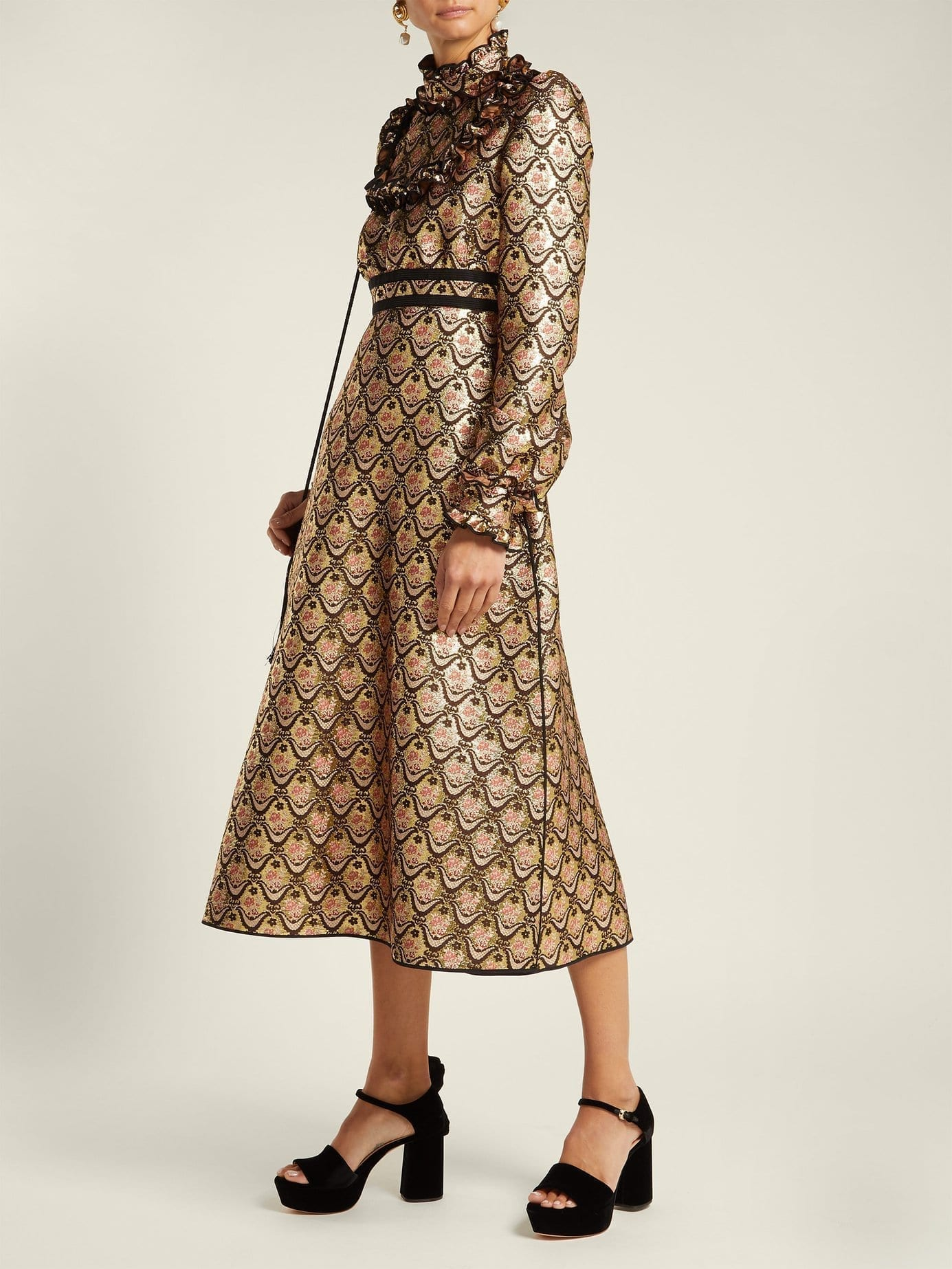 ROCHAS Floral Brocade Midi Gold Dress