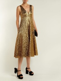 ROCHAS Metallic-Bouclé Foil-Effect Midi Gold Dress