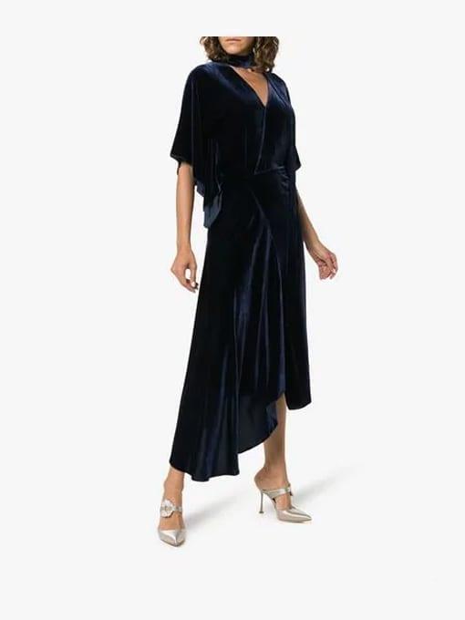 ROLAND-MOURET-Meyers-Tie-Neck-Velvet-Navy-Dress