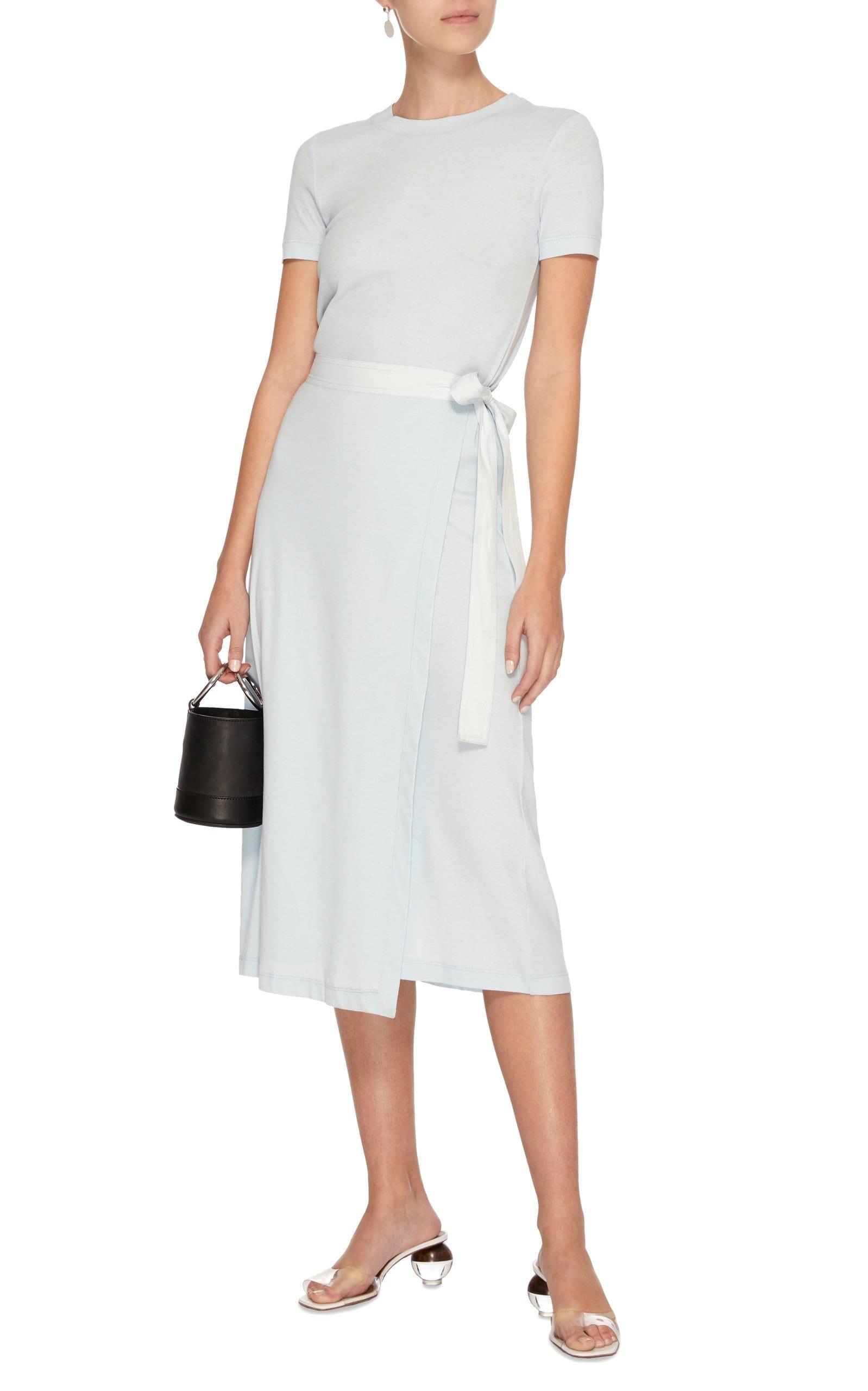 ROSETTA GETTY Rib Knit Apron Wrap Light Blue Dress