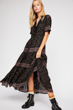 Rare Feelings Maxi Black Combo Dress