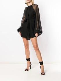 SAINT LAURENT Georgette Mini Black Dress