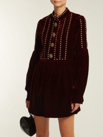 SAINT LAURENT Studded And Pleated Velvet Mini Burgundy Dress