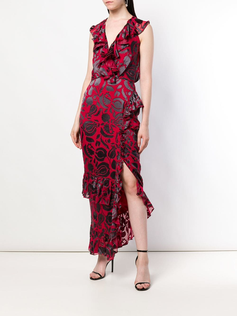 SALONI Anita Ruffle Red / Floral Printed Dress