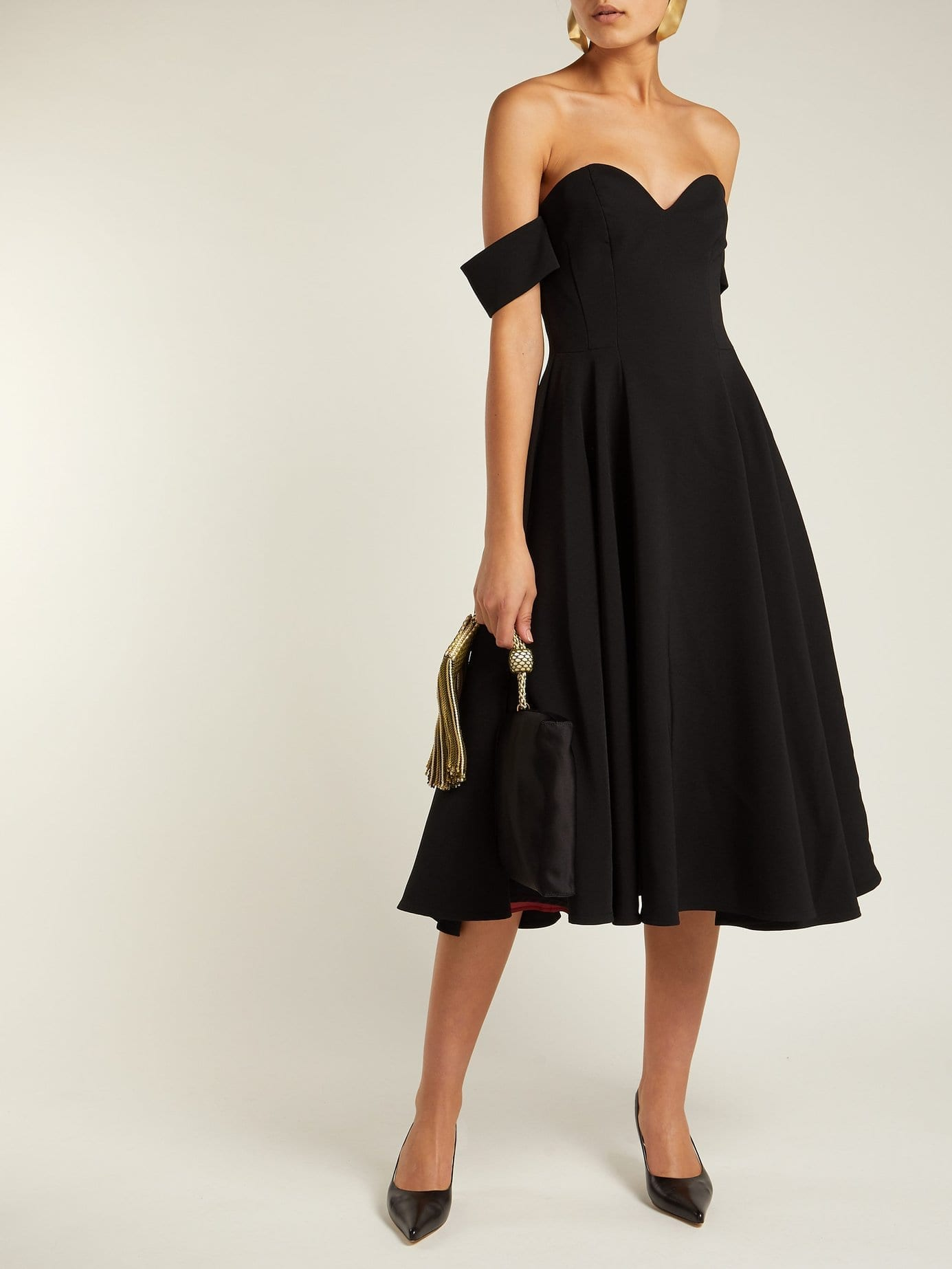 SARA BATTAGLIA Off The Shoulder Crepe Black Dress