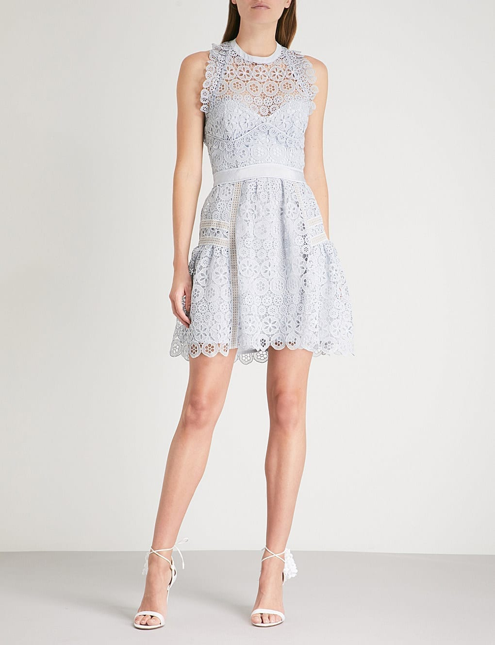6c3fc316594 SELF-PORTRAIT Circle Floral Lace Mini Pale Blue Dress - We Select ...