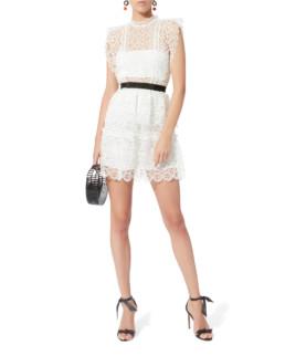 SELF-PORTRAIT Circle Floral Lace Mini White Dress