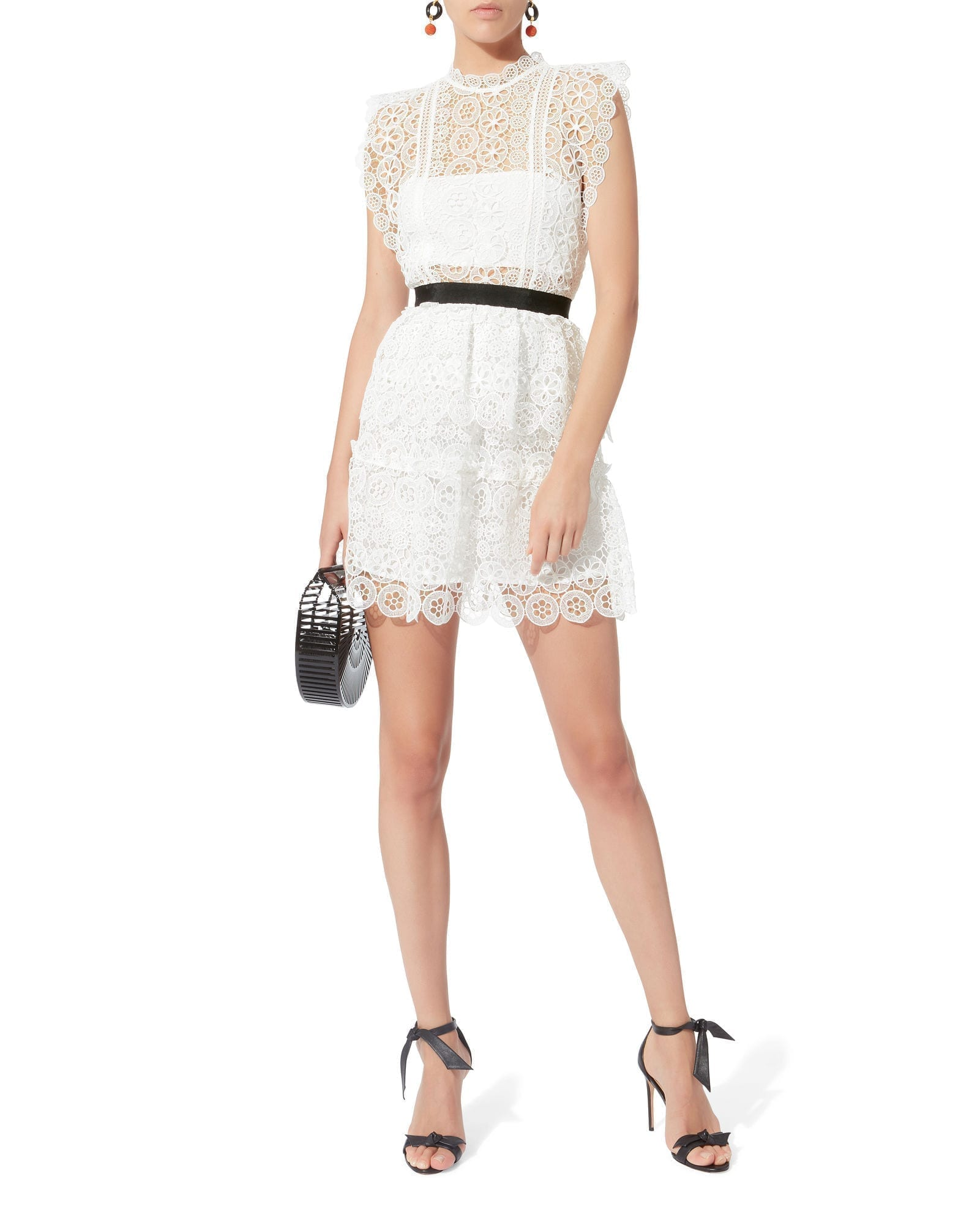 SELF-PORTRAIT Circle Floral Lace Mini White Dress