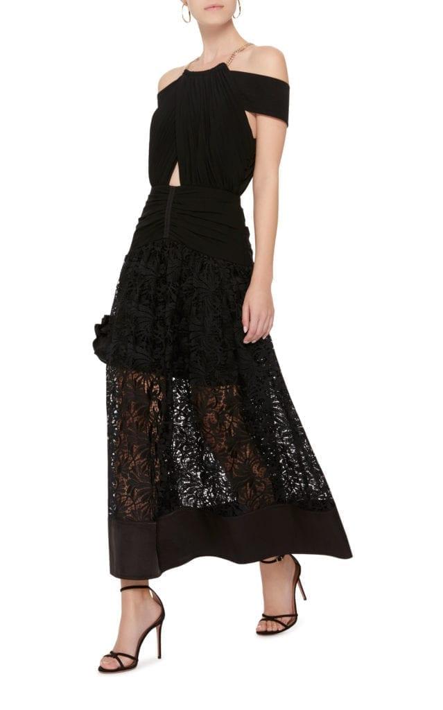 Self Portrait Cold Shoulder Cutout Lace And Crepe Midi Black Dress