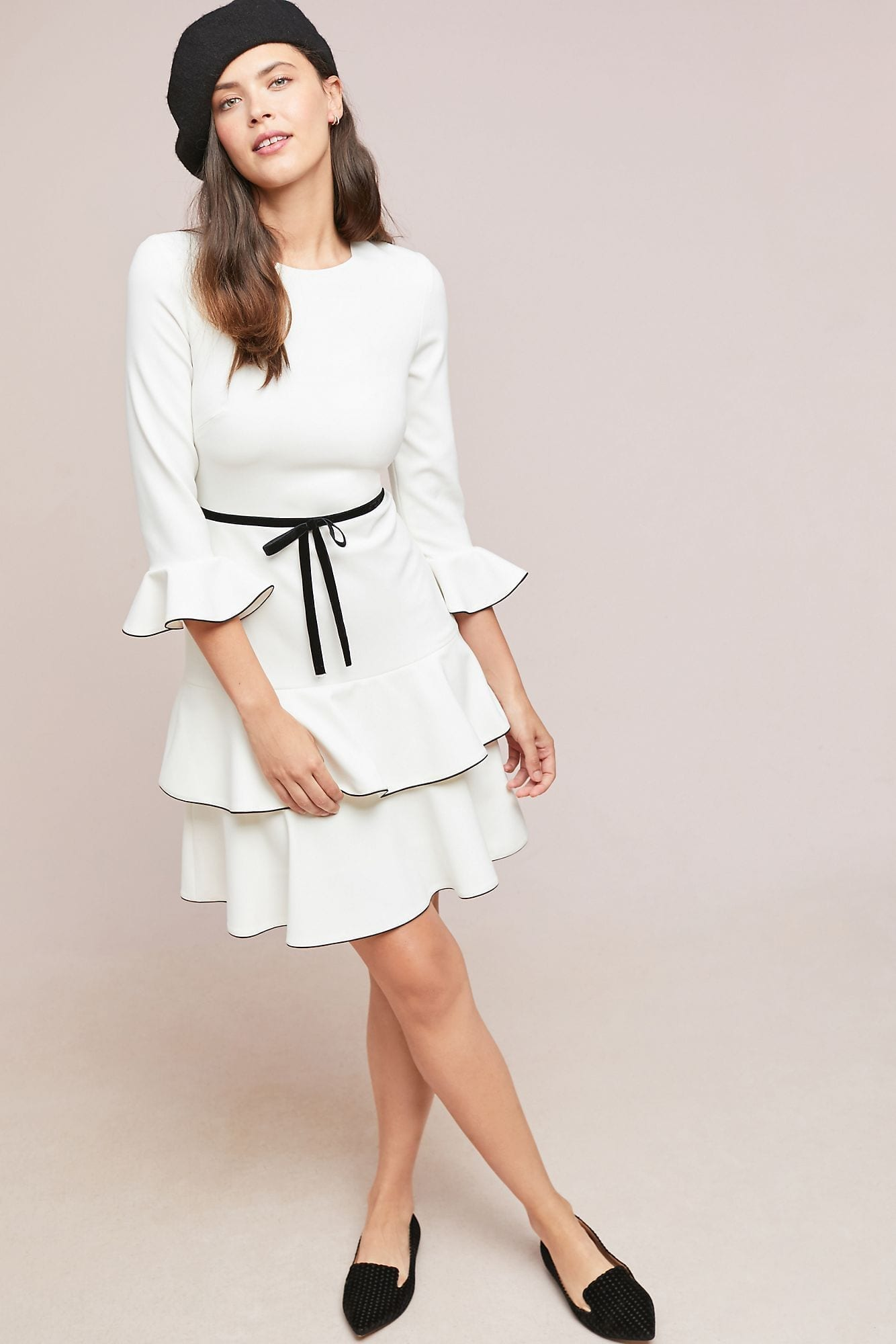 SHOSHANNA Wonderland Ruffled Ivory Dress