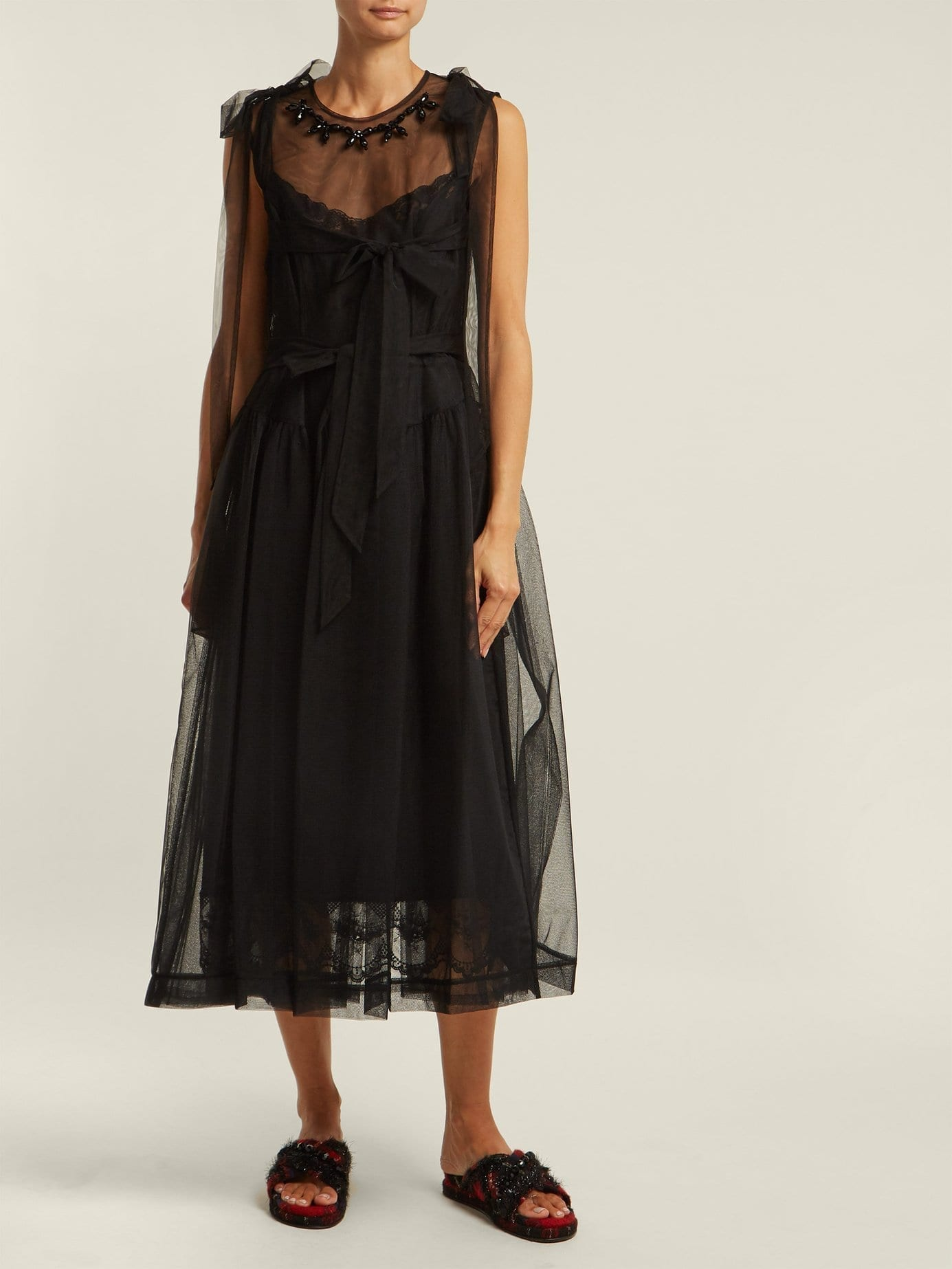 ab56268a6d SIMONE ROCHA Floral Bead Tulle Midi Black Dress - We Select Dresses