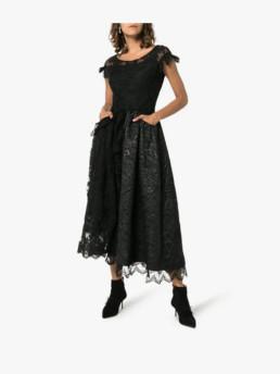 SIMONE-ROCHA-Short-Sleeved-Patchwork-Lace-Black-Dress