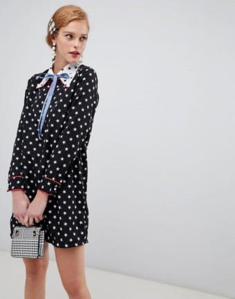 SISTER JANE Ribbon Tie Star Print Contrast Shift Black Dress