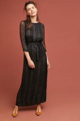 STELLA FOREST Amelie Striped Maxi Black Dress