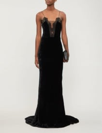 STELLA MCCARTNEY Get Lucky Fitted Velvet Black Gown
