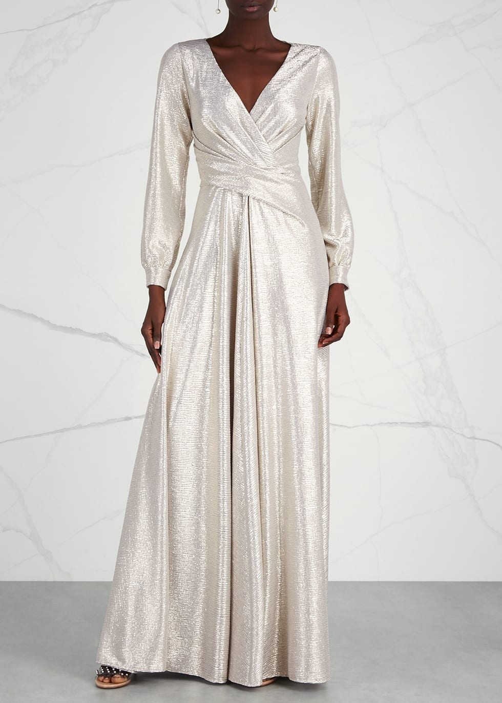 TALBOT RUNHOF Pale Gold Draped Gold Gown - We Select Dresses