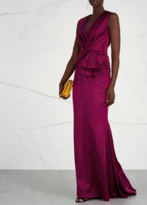 TALBOT RUNHOF Raspberry Bow-Embellished Satin Purple Gown
