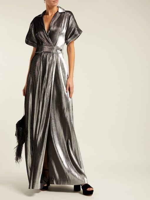 TEMPERLEY LONDON Liquid Metal Wrap Silver Dress