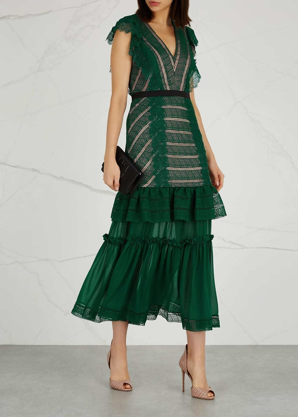THREE FLOOR Riverside Green Lace Dress