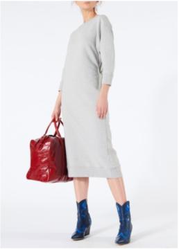 TIBI Open Back Sweatshirt Midi Grey Dress