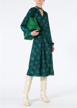 TIBI Remi Jersey Shirred Long Dark Green Dress