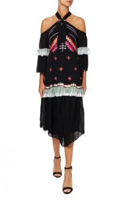TRAVELLER Off Shoulder Black Dress