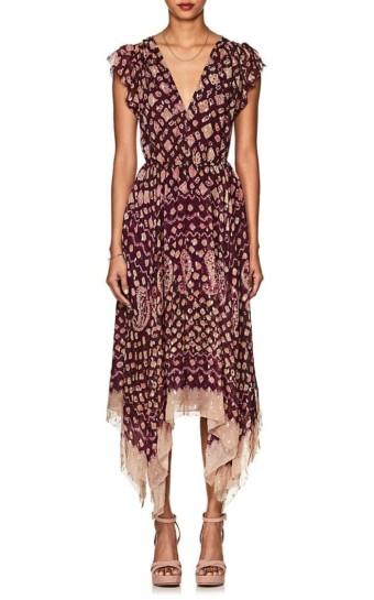 ULLA JOHNSON Aurelie Silk-Blend Fil Coupé Asymmetric Purple Dress