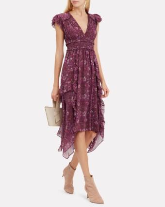 ULLA JOHNSON Ressie Midi Burgundy Dress