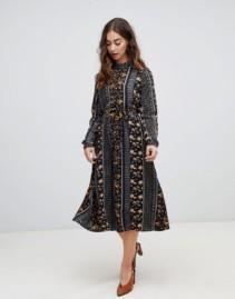 VERO MODA Mix and Match Print Midi Black Dress