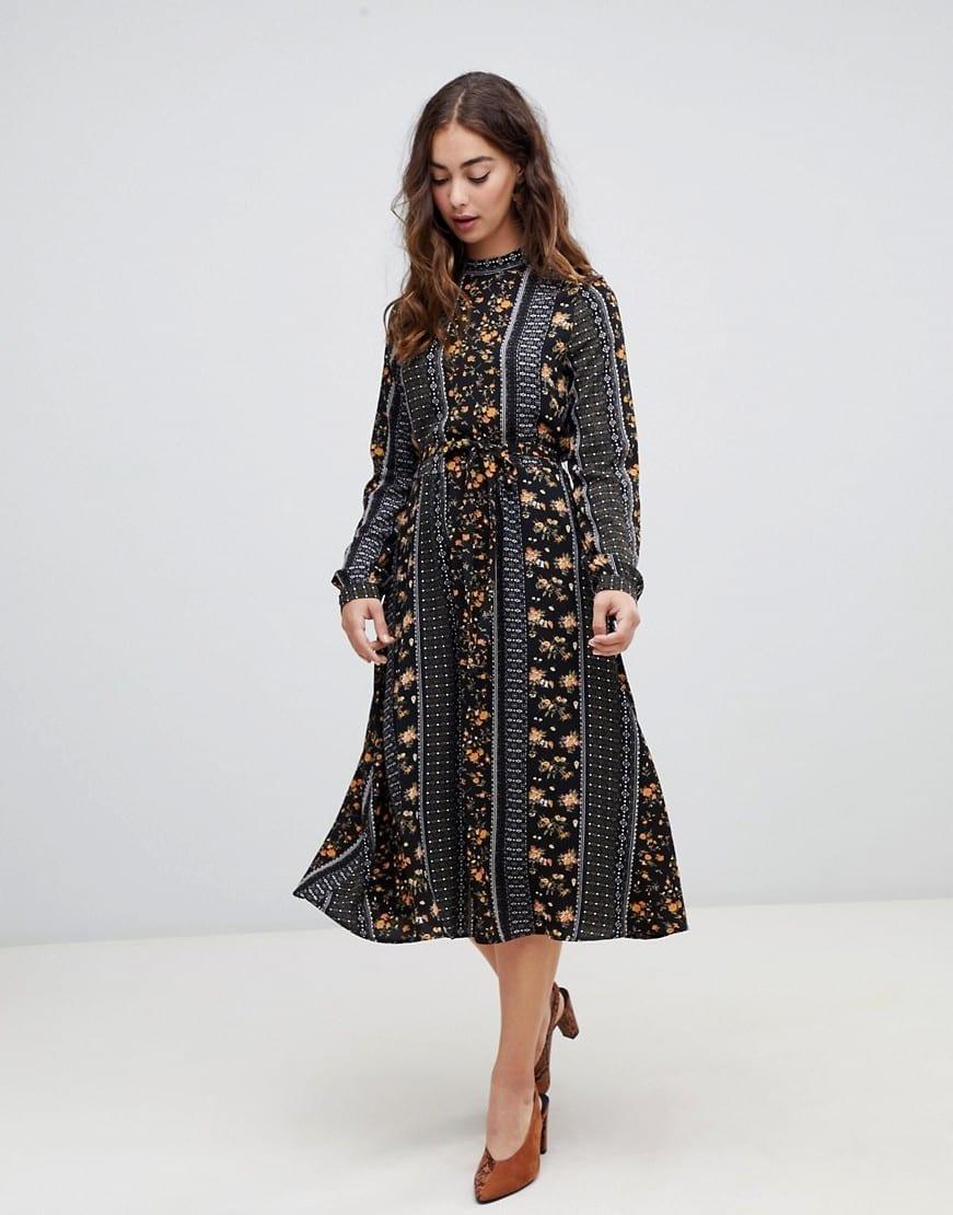 697e153579d VERO MODA Mix and Match Print Midi Black Dress - We Select Dresses