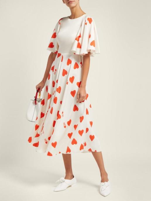 VIKA GAZINSKAYA Heart Print Silk Blend Satin Twill White Dress