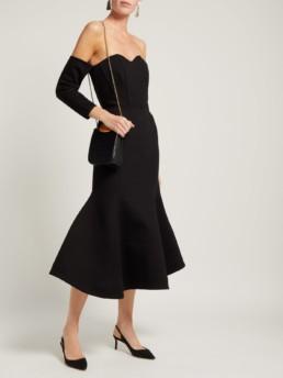 VIKA GAZINSKAYA Off The-shoulder Structured Midi Black Dress