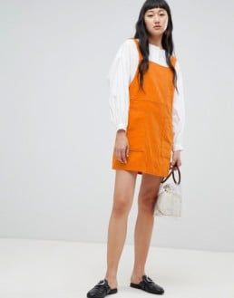 WEEKDAY Cord Mini Orange Dress