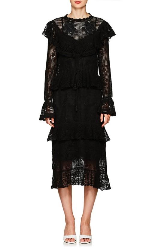 ff0e5c19ad06 ZIMMERMANN Castile Floral Cotton Crochet Maxi Black Dress