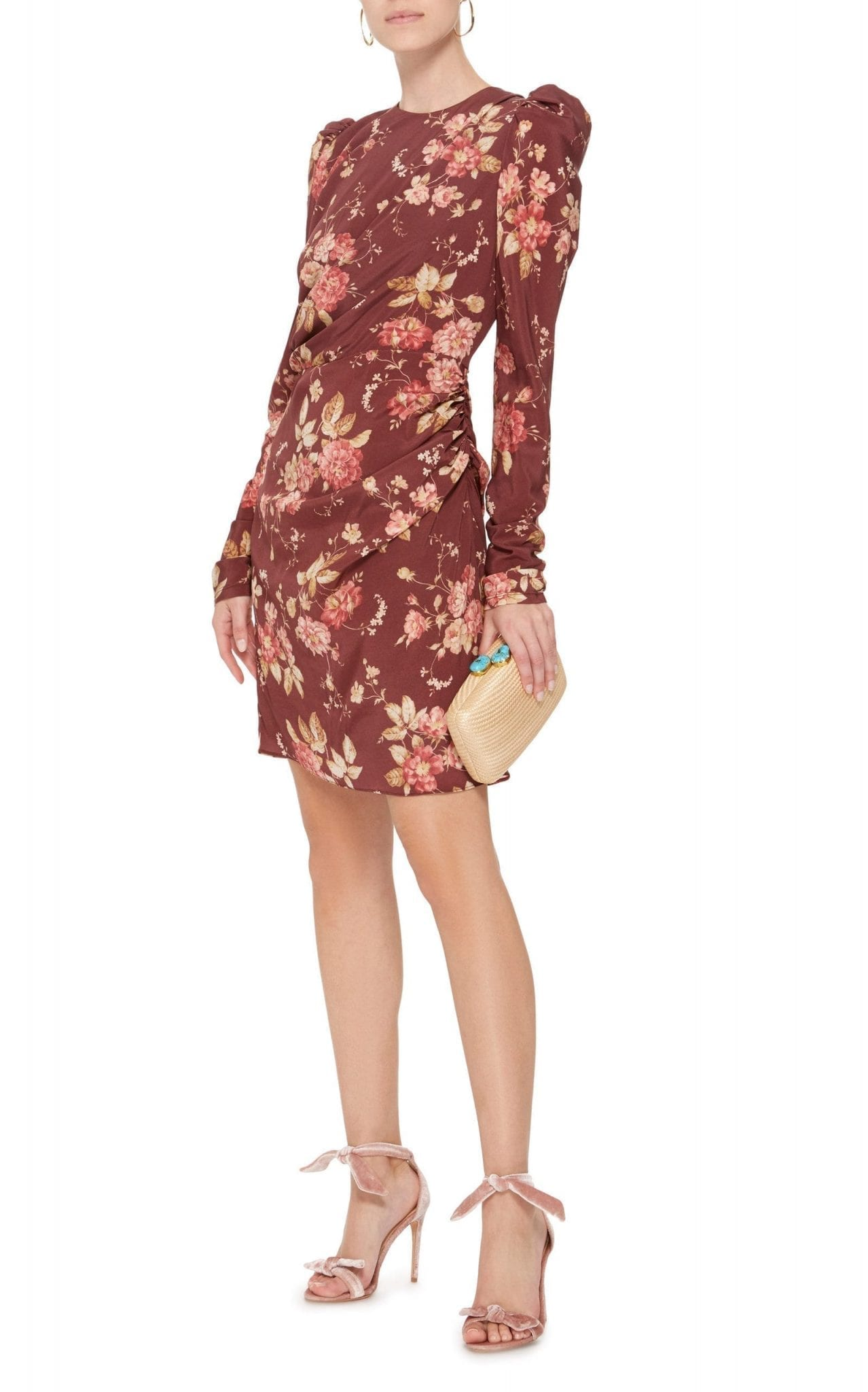 ZIMMERMANN Draped Wool-Blend Mini Brown / Floral Printed Dress