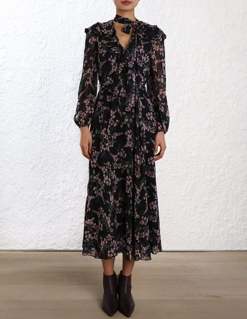 ZIMMERMANN Fleeting Flounce Black Dress