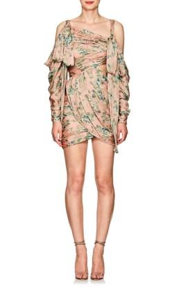 ZIMMERMANN Floral Silk Draped Cold-Shoulder Mini Multi / Floral Printed dress